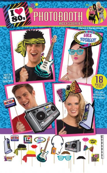 80s Photobooth Kit 18pc 80s Disco Pop Retro Party Favour